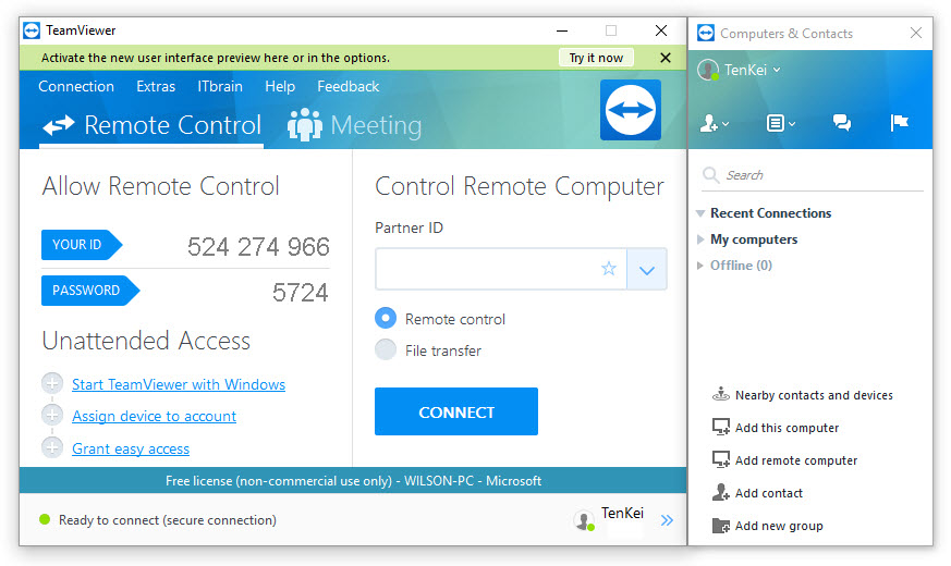 TenKei TeamViewer Allow Remote Control
