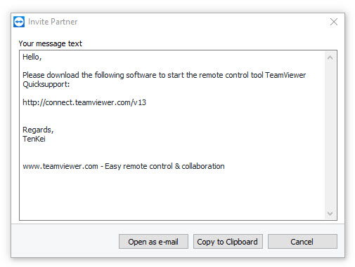 TenKei TeamViewer Invite Partner